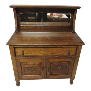 Antique Tiger Oak Child Size Washstand