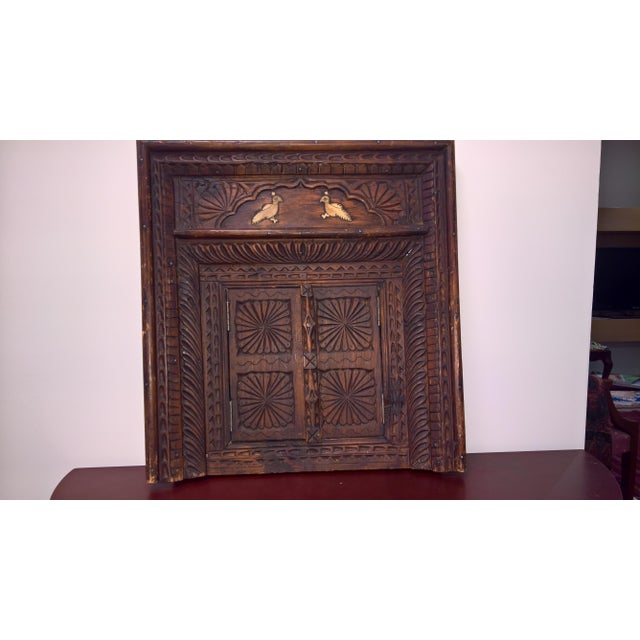 Afghan Vintage Afghan Carved Wooden Wall Shutters & Mirror For Sale - Image 3 of 7