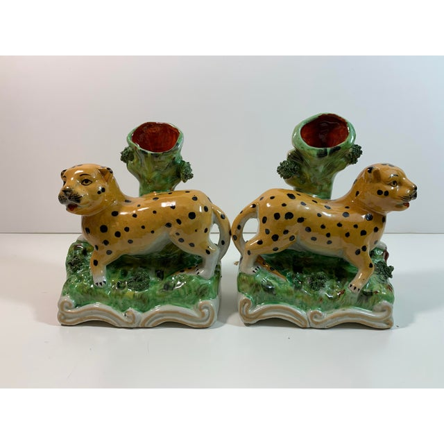 Vintage Staffordshire Style Leopard Spill Vases - a Pair For Sale - Image 9 of 11