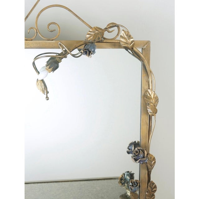 Gold Wrought Iron Vanity & Mirror With Granite Table Top , Floral Accents & Coordinating Bench For Sale - Image 8 of 13
