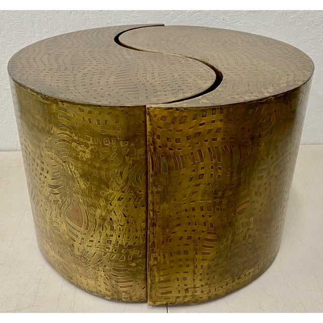 """Pair of Pilino Parker Etched Bronze """"Yin Yang"""" Nesting Side Tables C.1988 For Sale - Image 12 of 12"""