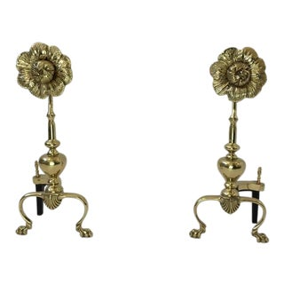 Polished Brass Flower Andirons - a Pair For Sale