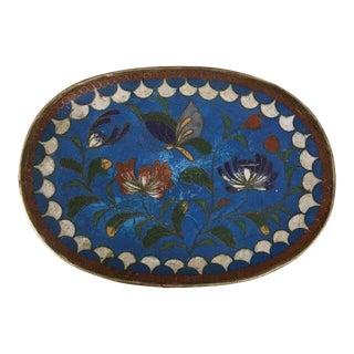 Vintage Mid 20th C. Floral Turquoise Cloisonné Dish For Sale