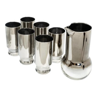 Vintage Silver Ombre Glass Bar Set - 7 Piece Set For Sale