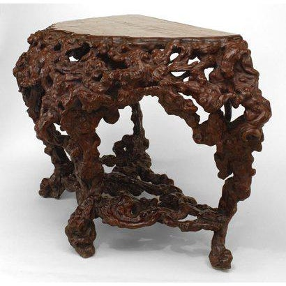 Pair of Asian Chinese Rustic Style Root Console Tables For Sale - Image 4 of 6