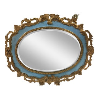 Heavy Cast Iron Gold Gilded Oval Mirror For Sale