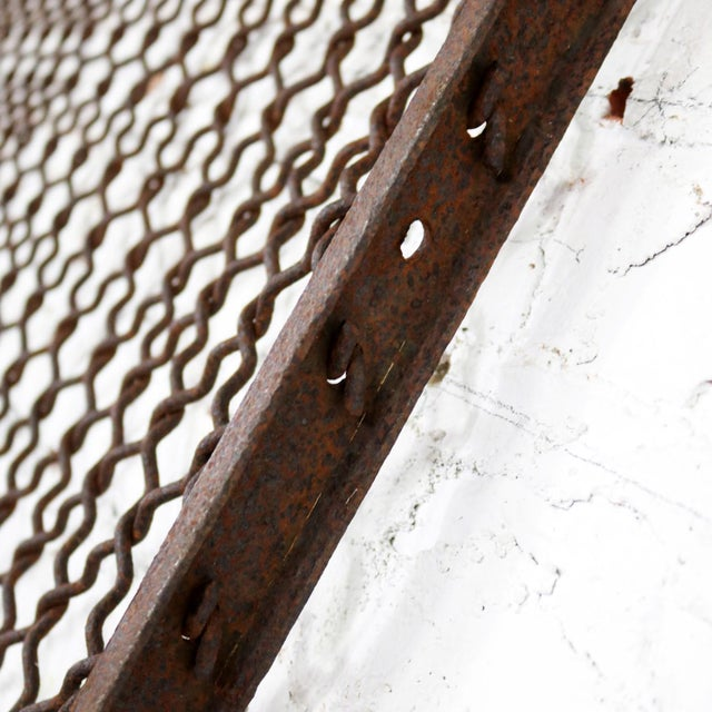 Antique Primitive Industrial Woven Wire Window Security Guard For Sale - Image 12 of 13