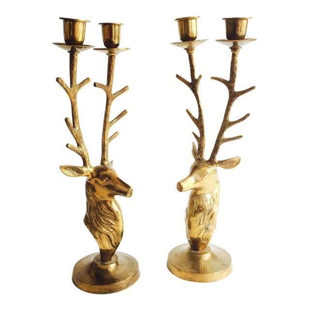 Large Vintage Brass Deer Candle Holders For Sale