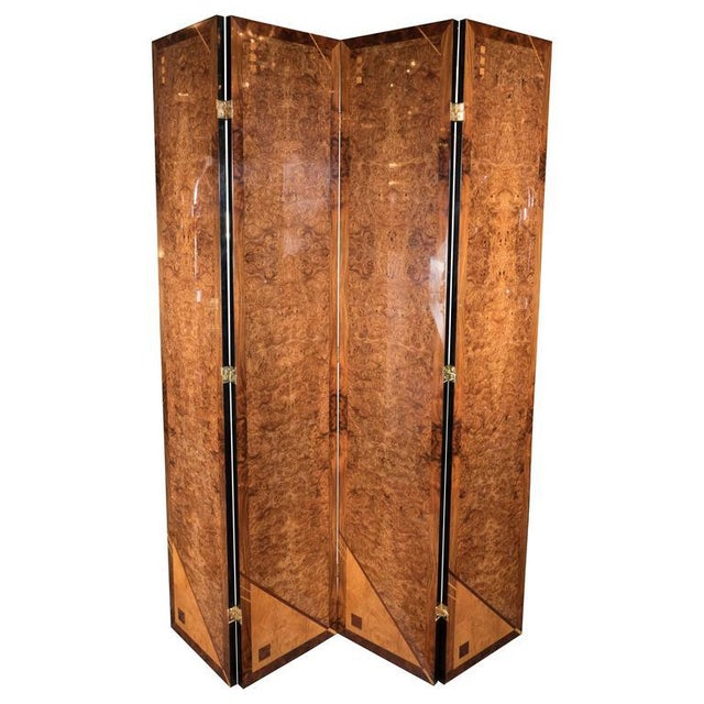 Art Deco Style Four Panel Screen in Burled Carpathian Elm with Geometric Shapes For Sale - Image 9 of 9