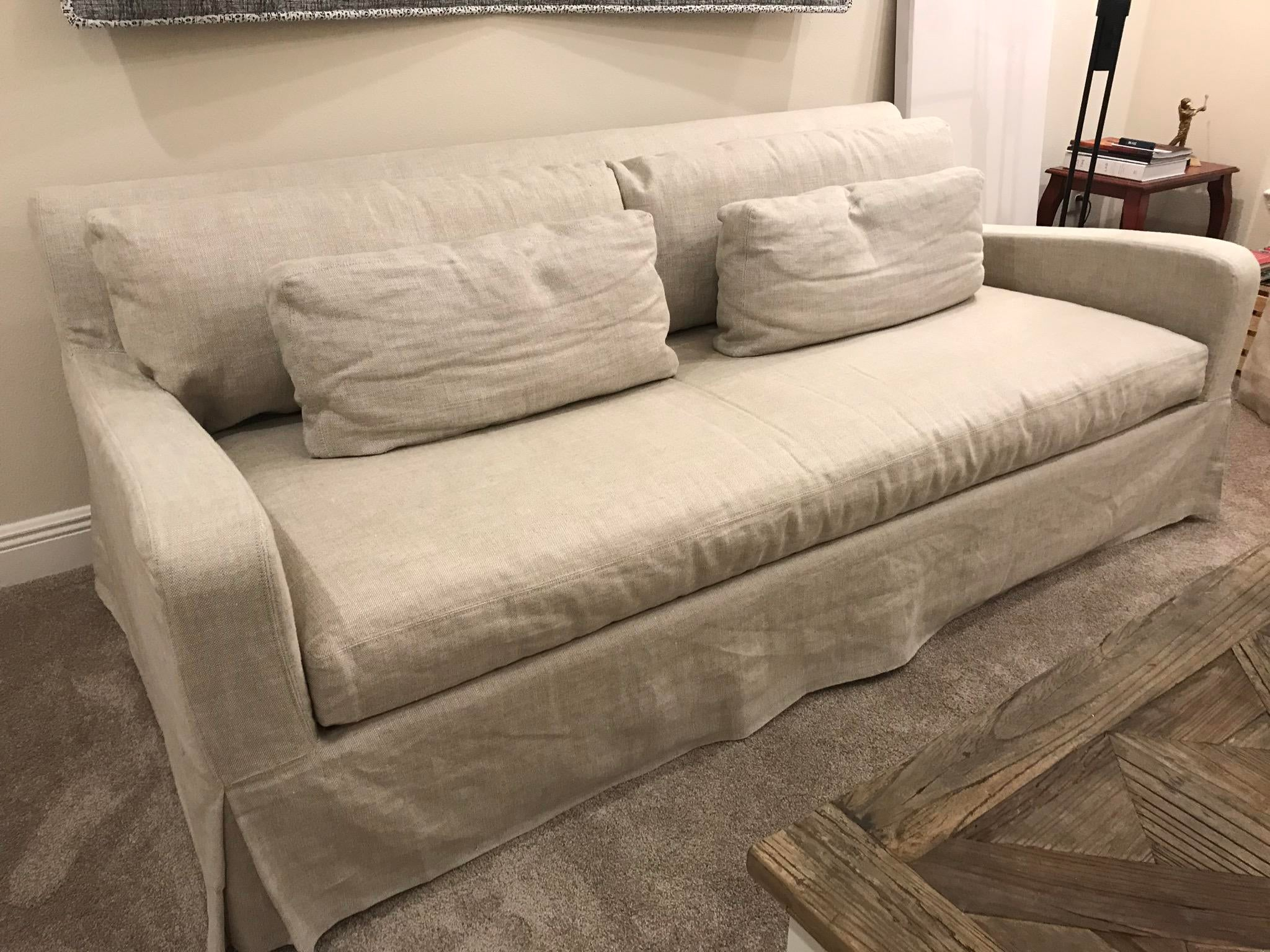 Marvelous Restoration Hardware Belgian Linen Sofa   Image 4 Of 5