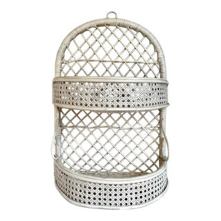 Vintage White Wicker and Cane Wall Shelf For Sale