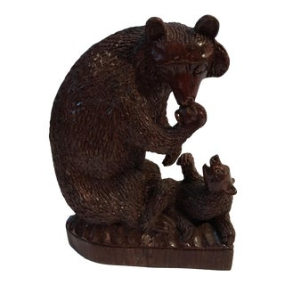 Antique Hand Carved Black Forest Bear and Cub For Sale