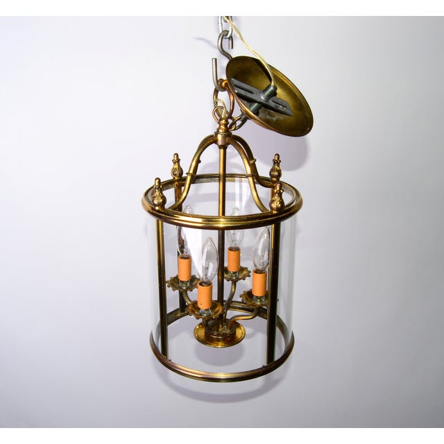 Round 4-Light Glass & Brass Chandelier - Image 8 of 8