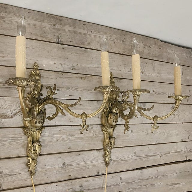 Grand Pair 19th Century Louis XV Cast Bronze Gasolier Electrified Wall Sconces For Sale - Image 4 of 13