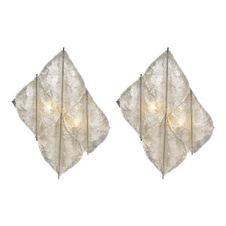 """Murano Glass Tiled """"Pulegoso"""" Sconces - a Pair For Sale"""