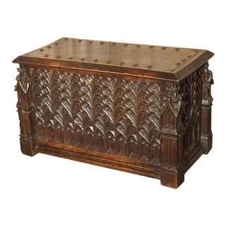 Neo-Gothic Walnut Wood Table Trunk From France, Circa 1860 For Sale
