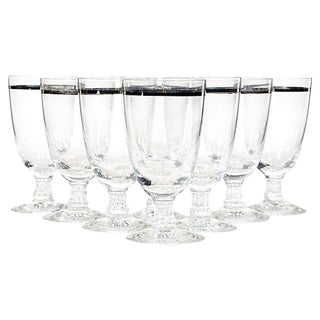 1960s Silver Banded Liquor Stems, Set of 8 For Sale