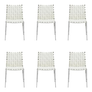 Interlude Home White Logan Woven Leather Dining Chairs- Set of 6 For Sale