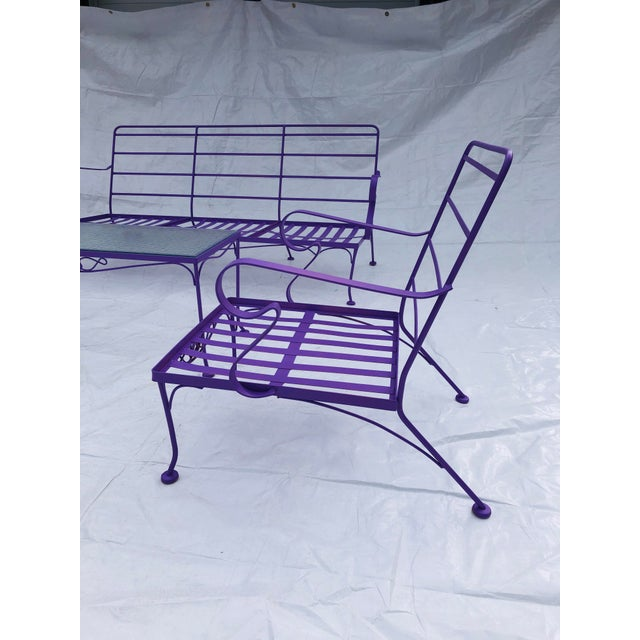 Mid-Century Modern C. 1970s Fresh Violet Paint 5-Piece Outdoor Set For Sale - Image 9 of 13