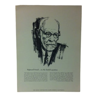 """1962 """"Sigmund Freud - on the Fateful Question"""" The Rand Corporation Famous People in History Print For Sale"""