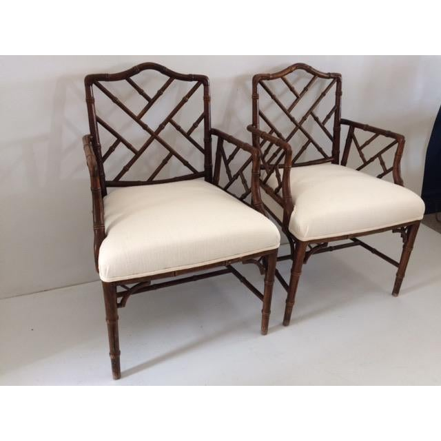 1980s Vintage Faux Bamboo Arm Chairs- A Pair For Sale - Image 4 of 13