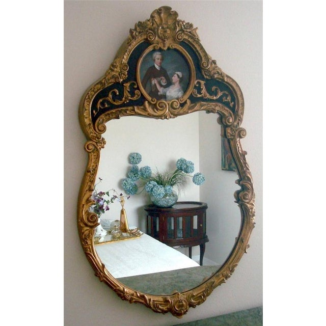 French Style Gold Gilt Wood Hand Painted Wall Mirror For Sale - Image 10 of 10