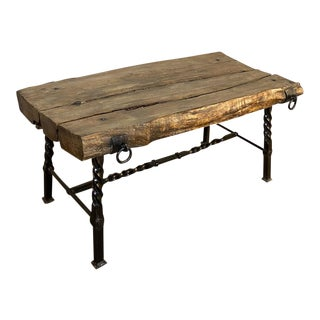 Rustic French Wrought Iron and Timber Coffee Table For Sale