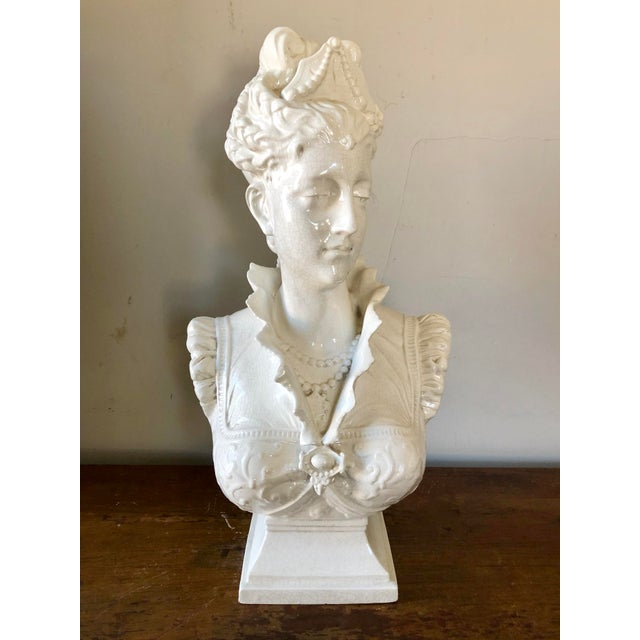 Vintage White Italian Pottery Bust of a Woman For Sale - Image 11 of 11