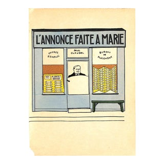 1925 Guilac 'l'Annonce Faite a Marie' Paris Storefront French Lithograph, Matted For Sale