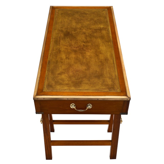 Campaign Style Vintage Mahogany Leather Top Writing Desk For Sale In Austin - Image 6 of 9