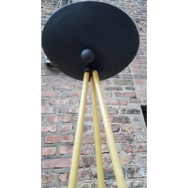 Italian Vintage Post Modern Tripod Halogen Floor Lamp in the Style of Memphis by Koch and Lowy in Black and Yellow For Sale - Image 3 of 5