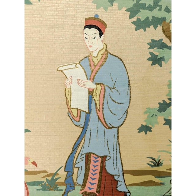 Wood Vintage Asian Silk Screen Hand Painted Prints With Gold. Pair of 2 For Sale - Image 7 of 8