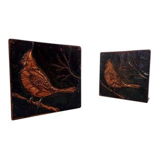 Antique Vintage Arts & Crafts Copper Cardinals Birds Folk Art Bookends For Sale