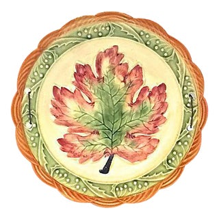Vintage Majolica Leaf Plate For Sale