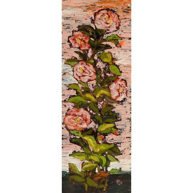 1960's Modernist Pink Roses Oil Painting For Sale - Image 4 of 4