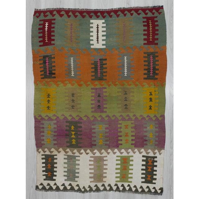 "Vintage Handwoven Kilim Rug - 3'8"" x 5'1"" For Sale In Los Angeles - Image 6 of 6"