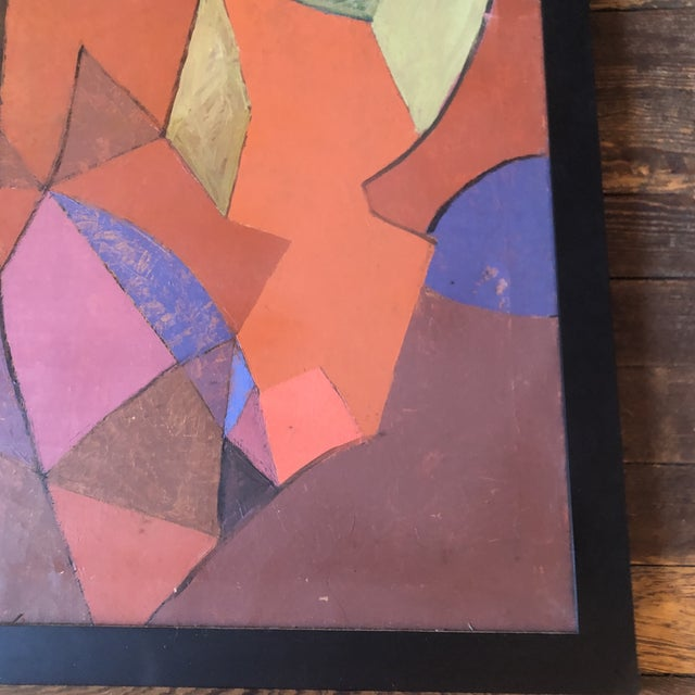 Vintage Original Geometric Abstract Painting 1950's Signed 33 X 39 For Sale - Image 4 of 7