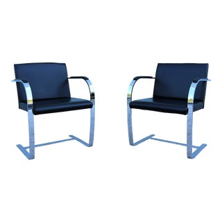 Mies Van Der Rohe for Knoll Vintage Black Leather Flat Bar Chairs - a Pair For Sale