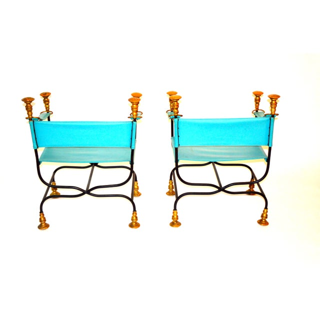 Leather and Iron Directoire Chairs - Image 2 of 2
