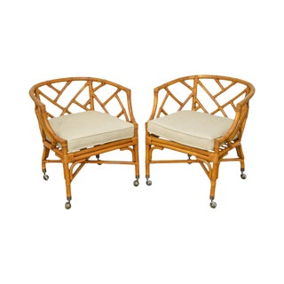McGuire Style Rattan Bamboo Barrel Back Club Chairs - a Pair