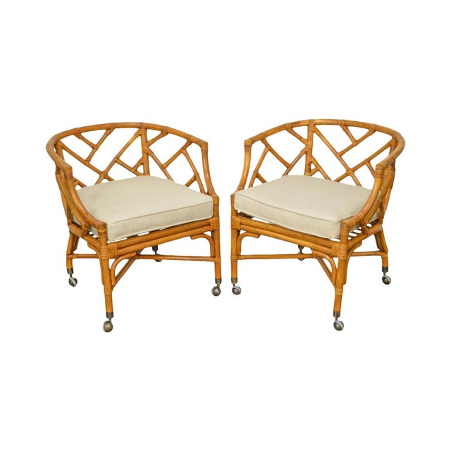 McGuire Style Rattan Bamboo Barrel Back Club Chairs - a Pair For Sale
