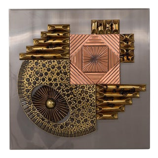 A Square Brutalist Metal Wall Panel Sculpture 1970s For Sale