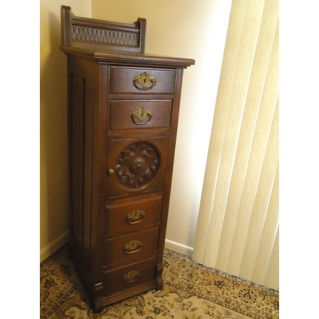 Americana 1870- 1893 Antique Nelson Matter & Co. Mahogany Carved Wood File Storage Cabinet For Sale - Image 3 of 11