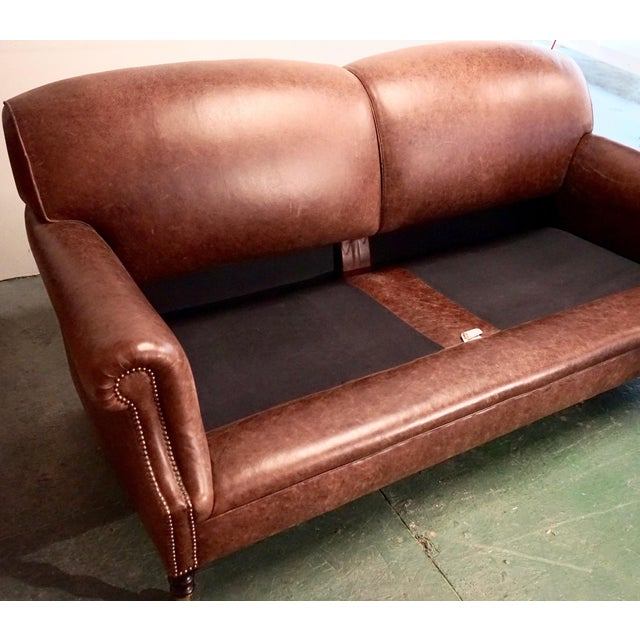"""Gold Modern George Smith 70"""" Chocolate Brown Leather Three Seater Sofa For Sale - Image 8 of 11"""