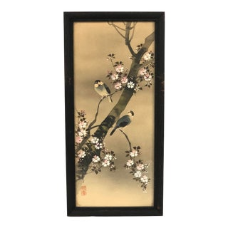 Early 20th Century Japanese Birds and Sakura Blossoms Watercolor Painting, Framed For Sale