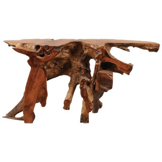 Natural Teak Root Console or Sofa Table For Sale