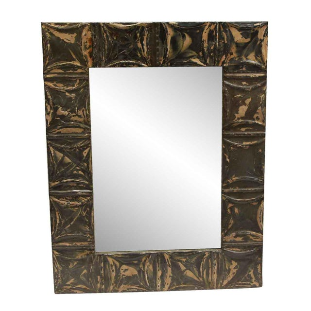 2010s Brown & Tan Antique Square Pattern Mirror For Sale - Image 5 of 5