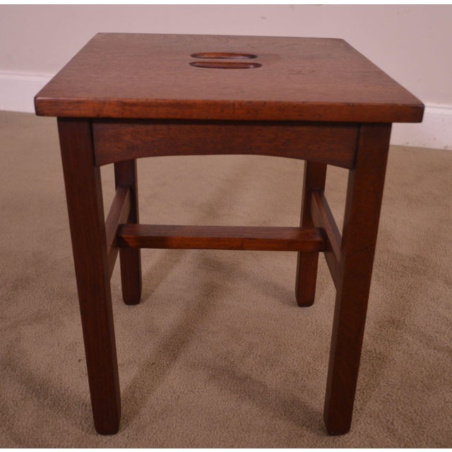 Antique Mission Style Mahogany Taboret Side Table For Sale - Image 11 of 13