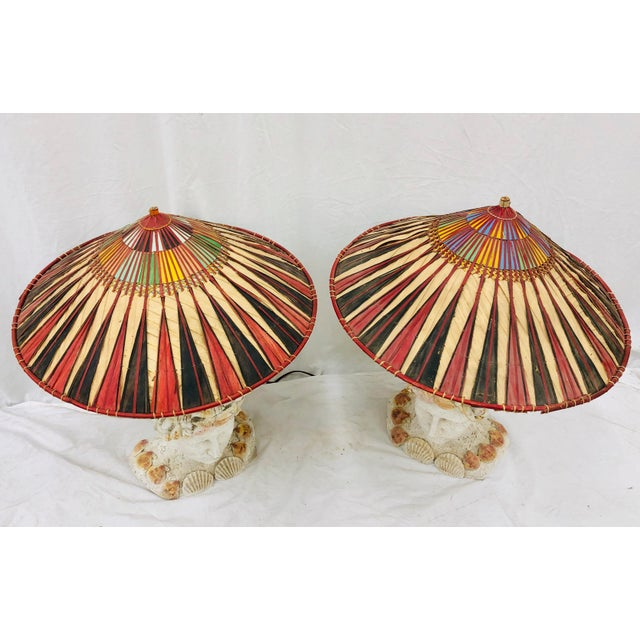 Metal Pair Vintage Seashell Covered Bust Sculptural Lamps For Sale - Image 7 of 13