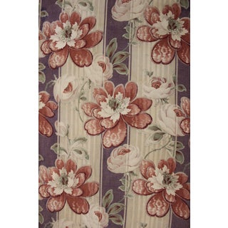 Antique French Art Nouveau Floral & Stripe Cotton Upholstery Weight Fabric For Sale